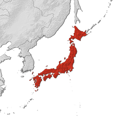Relief map of Japan and the nearby countries, Japan is highlighted in red.