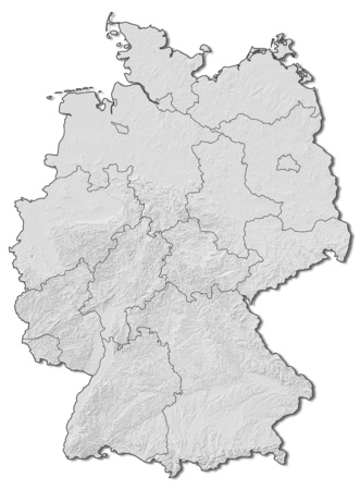 federal republic of germany: Shaded relief map of Germany with the provinces.
