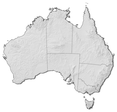 australie: Relief map of Australia with the provinces.