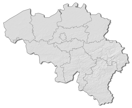 belgie: Shaded relief map of Belgium with the provinces.