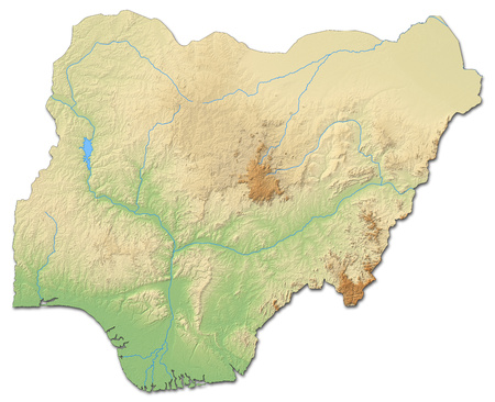 country nigeria: Relief map of Nigeria with shaded relief. Stock Photo
