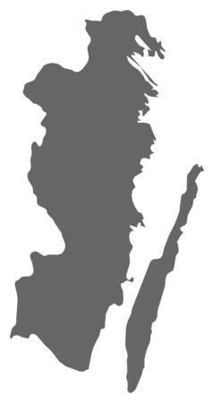 sverige: Map of Kalmar County, a province of Sweden.