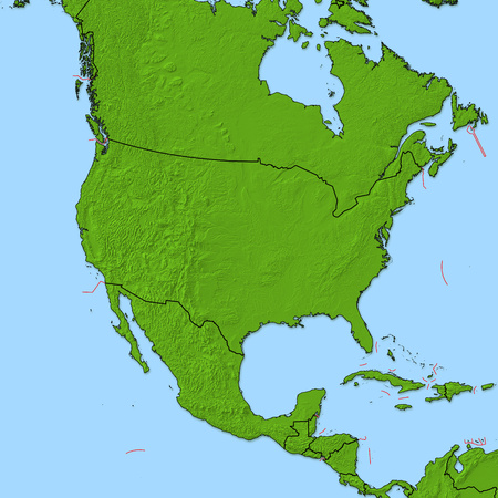 Relief map of United States and nearby countries. Stock Photo