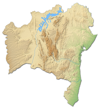 Relief map of Bahia, a province of Brazil, with shaded relief. Stock Photo