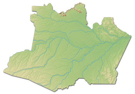 shaded: Relief map of Amazonas, a province of Brazil, with shaded relief.