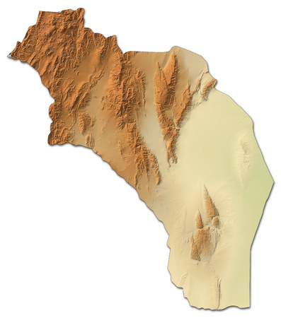 Relief map of La Rioja, a province of Argentina, with shaded relief. Stock Photo