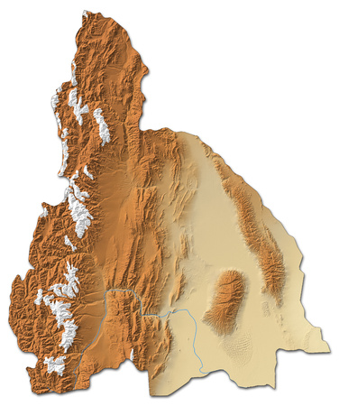 Relief map of San Juan, a province of Argentina, with shaded relief.