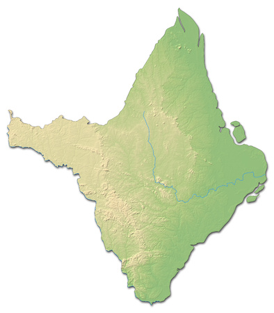 Relief map of Amap?, a province of Brazil, with shaded relief.