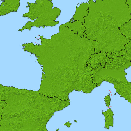 Carte En Relief De La France Et Des Pays Voisins, La France Est Surlignée  En Rouge. Banque D'Images Et Photos Libres De Droits. Image 63796682.123RF