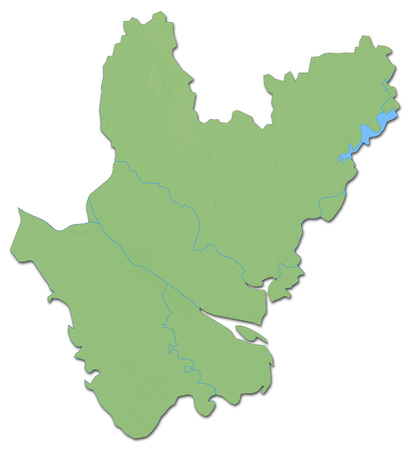 Relief map of Dhaka, a province of Bangladesh, with shaded relief.
