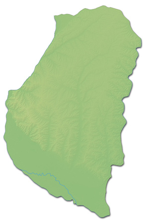 Relief map of Entre R?os, a province of Argentina, with shaded relief.