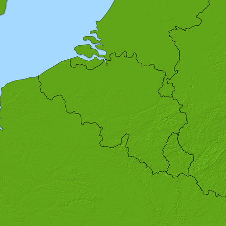 Relief map of Belgium and nearby countries. Stock Photo