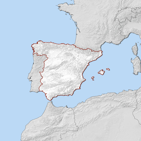 Relief map of Spain and the nearby countries, Spain is highlighted in white.