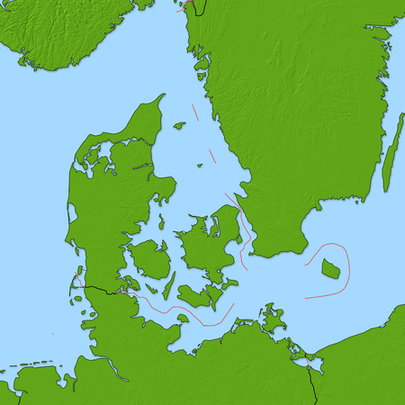 Relief map of Danmark and nearby countries.