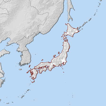 shady: Relief map of Japan and the nearby countries, Japan is highlighted in white.