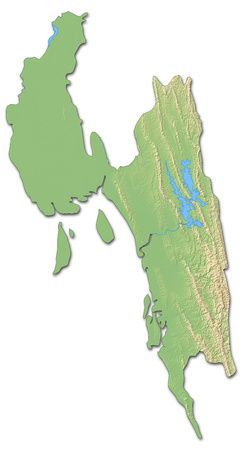 Relief map of Chittagong, a province of Bangladesh, with shaded relief. Stock Photo