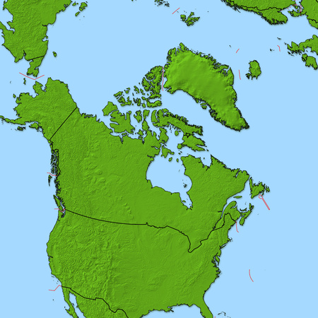 shady: Relief map of Canada and nearby countries.