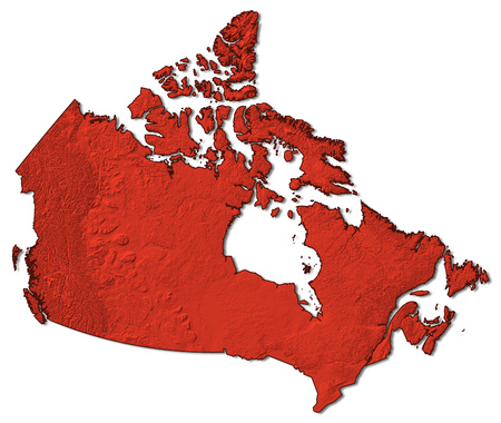 Relief map of Canada in red.