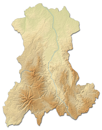 shaded: Relief map of Auvergne, a province of France, with shaded relief. Stock Photo
