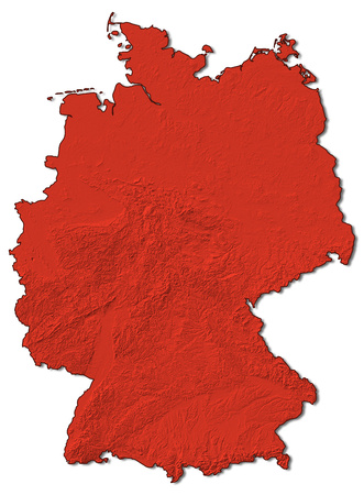 Relief map of Germany in red.