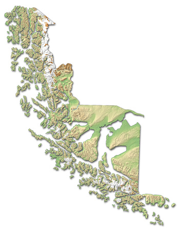 Relief map of Magellan and Chilean Antarctica, a province of Chile, with shaded relief.