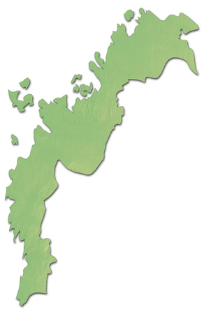 Relief map of Ostrobothnia, a province of Finland, with shaded relief.