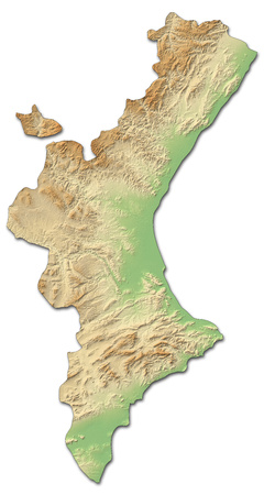 valencian: Relief map of Valencian Community, a province of Spain, with shaded relief.