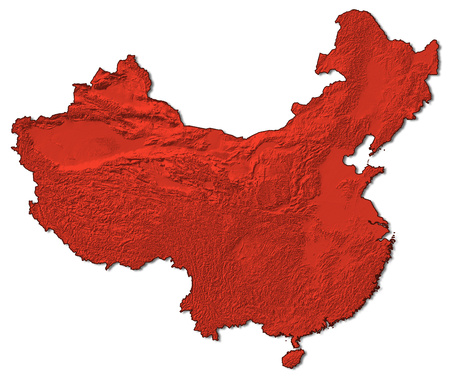 Relief map of China in red.