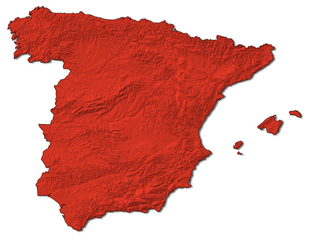 Relief map of Spain in red. Stock Photo