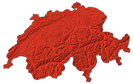 Relief map of Swizerland in red. Stock Photo