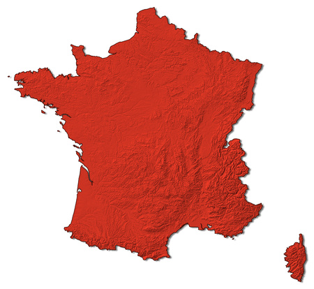 Relief map of France in red.