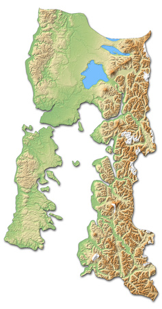 Relief map of Los Lagos, a province of Chile, with shaded relief. Stock Photo