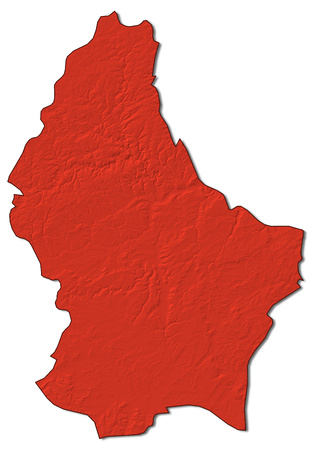 Relief map of Luxembourg in red.