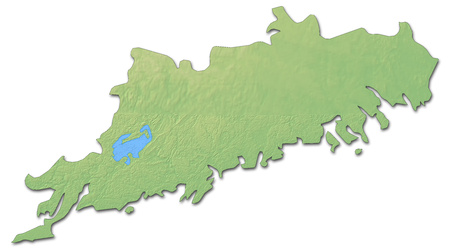 Relief map of Uusimaa, a province of Finland, with shaded relief. Stock Photo