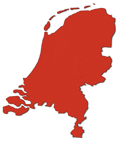 map of netherlands: Relief map of Netherlands in red.