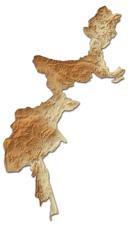 administered: Relief map of Federally Administered Tribal Areas, a province of Pakistan, with shaded relief. Stock Photo
