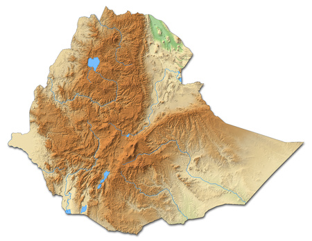 ethiopia abstract: Relief map of Ethiopia with shaded relief.