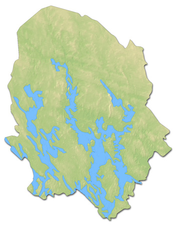 shaded: Relief map of Northern Savonia, a province of Finland, with shaded relief.