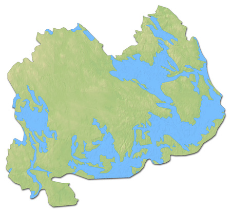 Relief map of Southern Savonia, a province of Finland, with shaded relief.