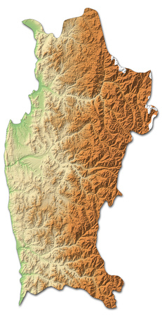 shaded: Relief map of Coquimbo, a province of Chile, with shaded relief.