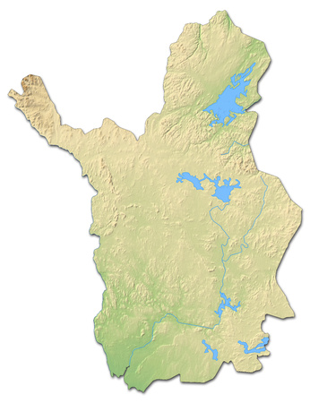 Relief map of Lapland, a province of Finland, with shaded relief. Stock Photo