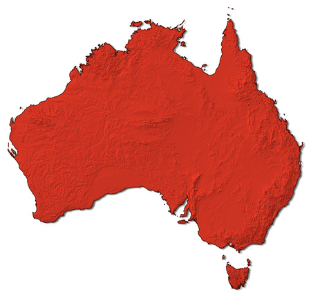 australie: Relief map of Australia in red.