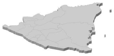 nicaragua: Map of Nicaragua as a gray piece.