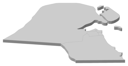 west asia: Map of Kuwait as a gray piece.