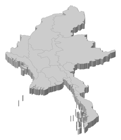Map of Myanmar as a gray piece.