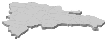 middle america: Map of Dominican Republic as a gray piece.