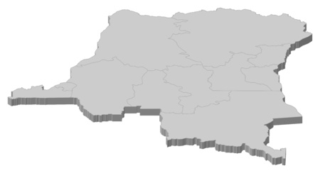zaire: Map of Democratic Republic of the Congo as a gray piece.