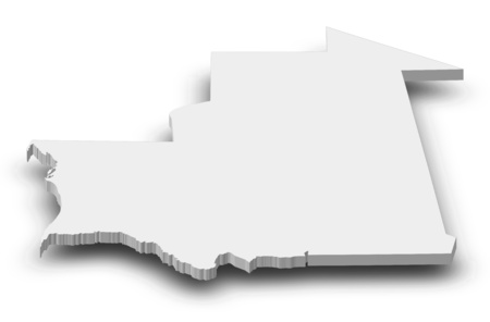 mauritania: Map of Mauritania as a gray piece with shadow.