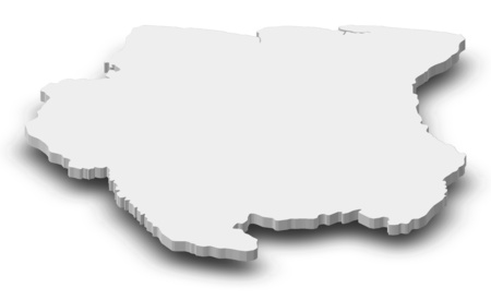 shady: Map of Suriname as a gray piece with shadow.