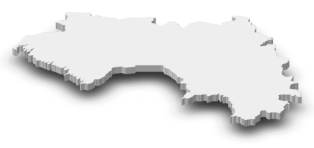 Map of Guinea as a gray piece with shadow.